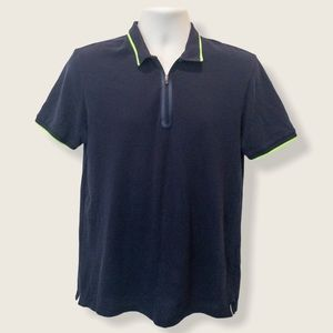 Zara Man Navy Polo with Lime Contrast - Size Large